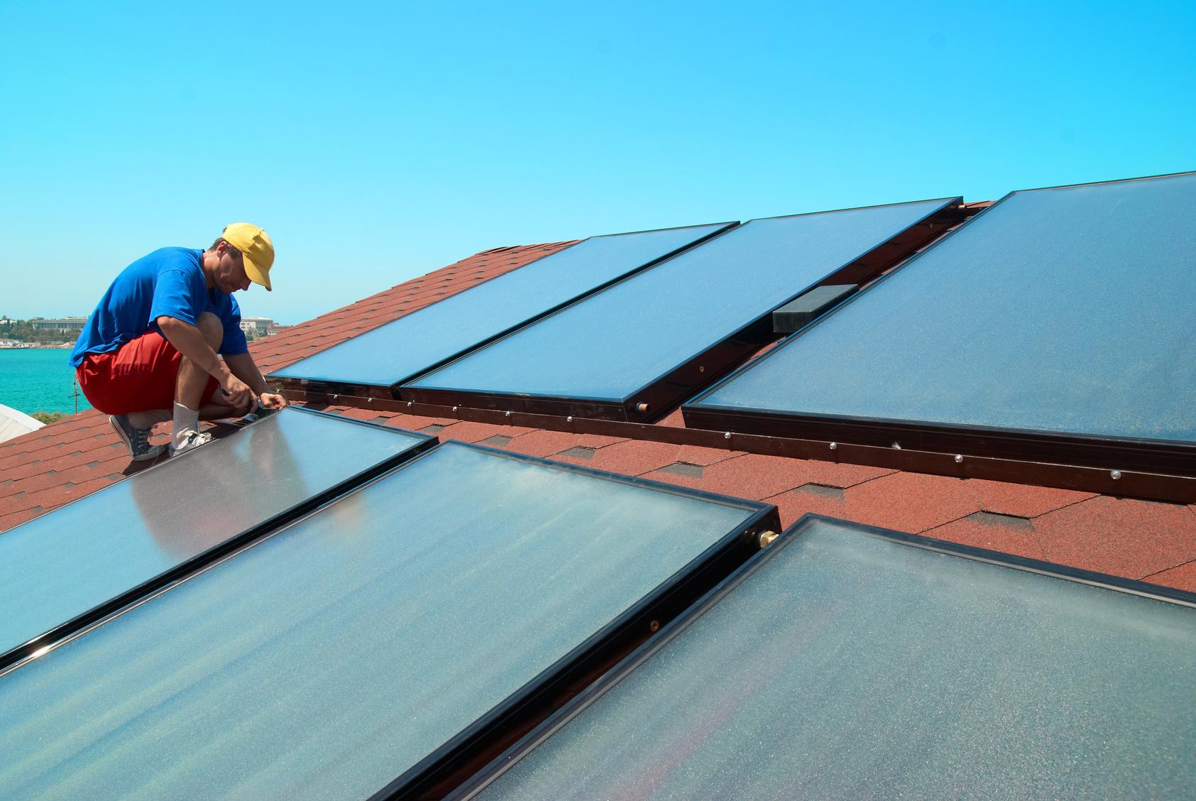Pose de capteurs thermique en toiture