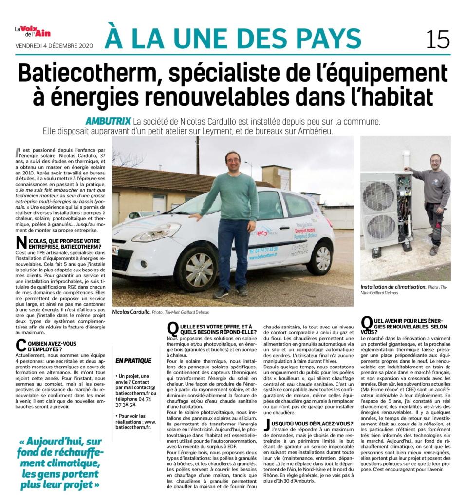 Article la Voix de l'Ain, batiecotherm
